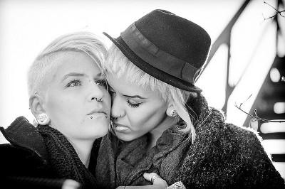 Paar Hetero-Paar Lesbisches Achtung, diese